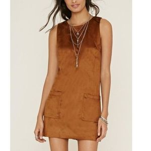 Faux Suede Shift Dress in Chestnut Brown